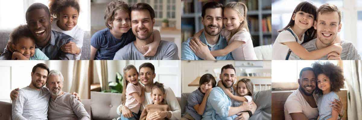 Fotos de diferentes pais e filhos juntos